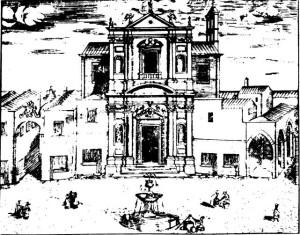 Questa raffigura la piazza dei mercanti . Al centro la chiesa di Santa Maria delle Grazie disegnata dal Teatino Rosario Coluccio di Rossano Veneto. A destra la loggia del porticato del mercato del pesce e a sinistra il vico dei forcinari che era degli Olivetani dei SS Nicolò e Cataldo. La fontana fu smontata nel 1768 e fu ricomposta al Parco l'anno successivo.