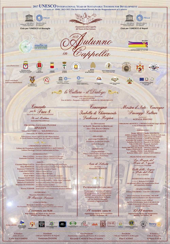 """Rassegna 2017 """"AUTUNNO IN CAPPELLA"""" Le Culture – il Dialogo  5 novembre ore 16 – NAPOLI – Cappella del Tesoro di San Gennaro"""