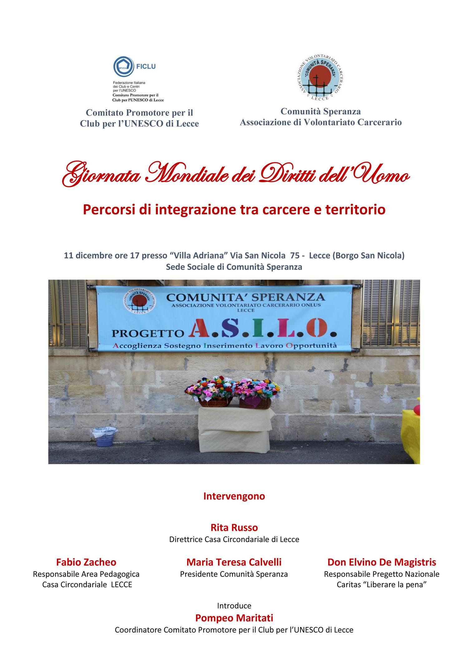 """Conferenza """"Percorsi di integrazione tra carcere e territorio""""  In riferimento alla Giornata Mondiale dei Diritti dell'Uomo"""