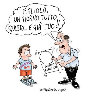 """Vignetta in cui il genitore dice al figlio """"Un giorno questo debito pubblico sarà tuo"""""""