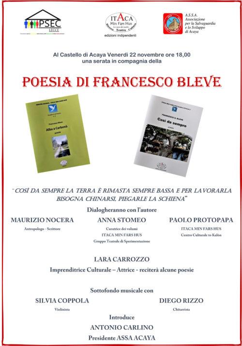 Il 22 di novembre al Castello di Acaya in compagnia della poesia di Francesco Bleve