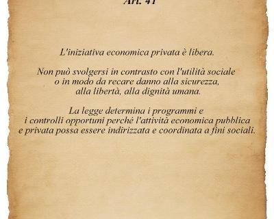 Testo dell'art. 41 della Carta Costituzionale