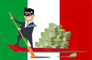 Bandiera italiana con evasore che rema