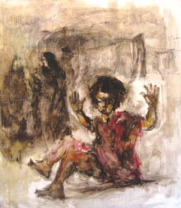 "Dipinto di Massimo Marangio "" Ho paura"" cm58x66,5 olio e bitume su tavola"