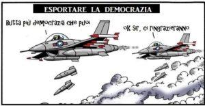 Vignetta esportazione della democrazia con le armi