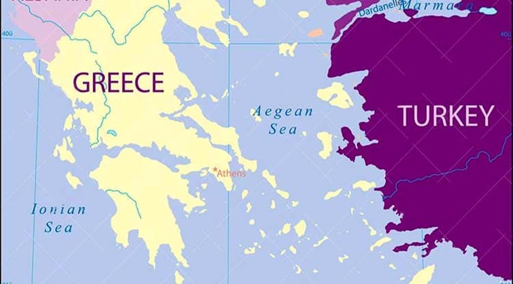 Mappa geografica di Grecia e Turchia